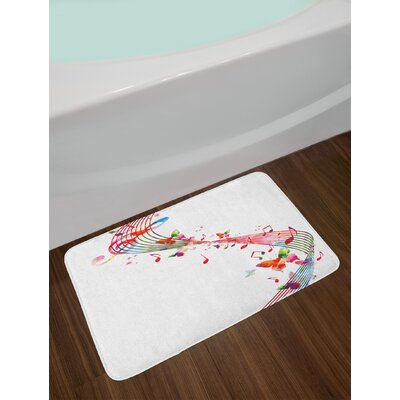Music Colorful Artwork with Musical Notes and Butterflies Springtime Inspired Party Theme Non-Slip Plush Bath Rug