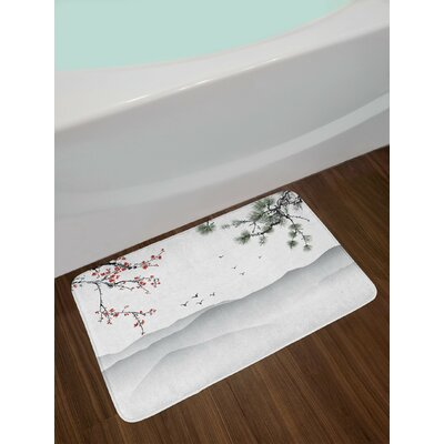 Floral Artwork with Tree Branches Birds Mountains Landscape Art Non-Slip Plush Bath Rug