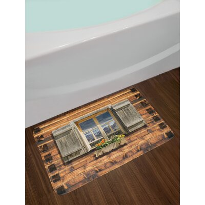 Shutters Weathered Facade of a Mountain Hut with Summer Mountain Reflections on Window Non-Slip Plush Bath Rug