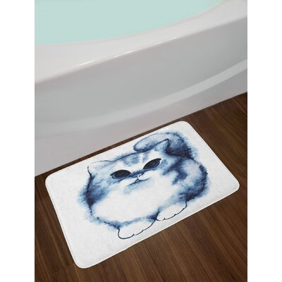 Cute Kitty Paint with Distressed Color Features Fluffy Cat Best Companion Ever Non-Slip Plush Bath Rug
