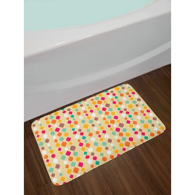 Vertical Oval Tiled Circle Bound Geometric Groovy Shapes Looks Like Flowing Down Pattern Non-Slip Plush Bath Rug