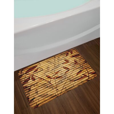 Bamboo Stems and Leaf Figures over It Spiritual Asian Elements Bohemian Print Non-Slip Plush Bath Rug