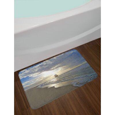 Nautical A Sailing Ship Close to Sandy Beach in Moody Sunset Paradise Tropical Theme Non-Slip Plush Bath Rug