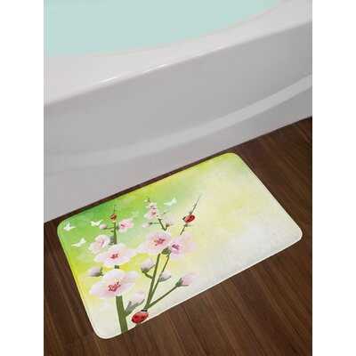 Ladybugs Blooming Flowers in the Field and Japanese Leaf Petals Nature Graphic Non-Slip Plush Bath Rug