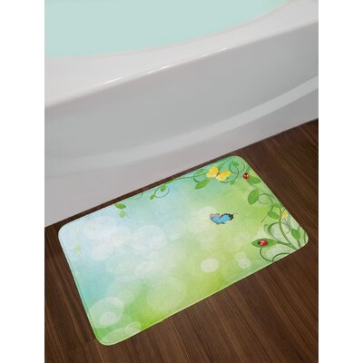 Ladybugs Spring Theme with Flowers and Butterflies Transformation Morph Print Non-Slip Plush Bath Rug