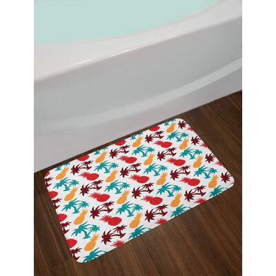 Pineapple Lively Palm Trees Island Themed Silhouettes Non-Slip Plush Bath Rug