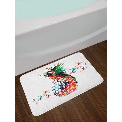 Pineapple Geometric Bursting into Scattering Birds Flight Abstract Print Non-Slip Plush Bath Rug