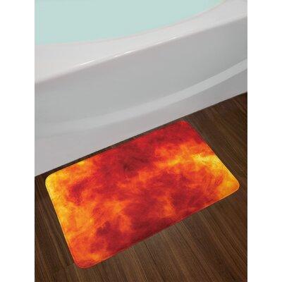 Graphic of Fire Explosion Vibrant Hot Flames Heat Burning Theme Design Art Print Non-Slip Plush Bath Rug