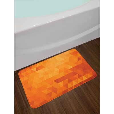 Triangle Mosaic Shapes and Patterns with Abstract Digital Pixel Like Effect Print Non-Slip Plush Bath Rug