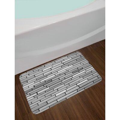Illustration of Brick Wall Art Print 3D Vision and Shabby Design Non-Slip Plush Bath Rug
