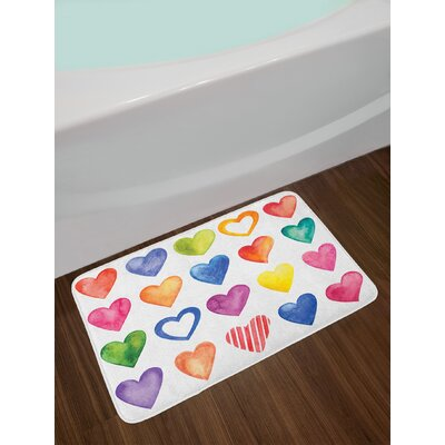Grunge Color Heart Shapes Valentine's Day Design Romantic His and Hers Theme Non-Slip Plush Bath Rug