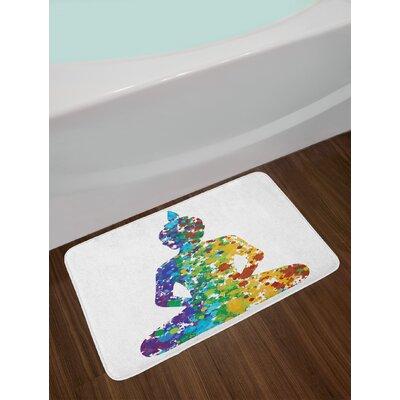 Asian Meditating Silhouette Keep Calm Print Non-Slip Plush Bath Rug