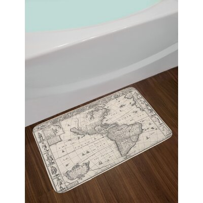 Antique Map America in 1600s World in Medieval Time Ancient Era in Non-Slip Plush Bath Rug