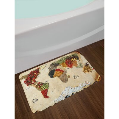 Map of World Different Spices Design with Food Symbols Artwork Non-Slip Plush Bath Rug