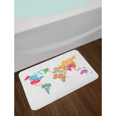World Map with Names of the Countries Europe America Africa Asia Graphic Non-Slip Plush Bath Rug