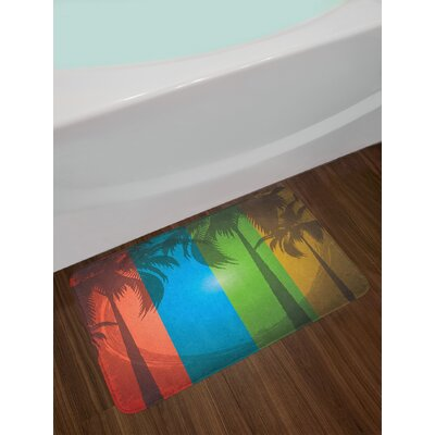 Grunge Palm Trees Silhouette on Colorful Vertical Stripes Sunbeams Art Non-Slip Plush Bath Rug