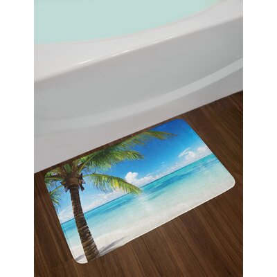 Ocean Exotic Beach Water and Palm Tree by the Shore with Sky Landscape Image Non-Slip Plush Bath Rug