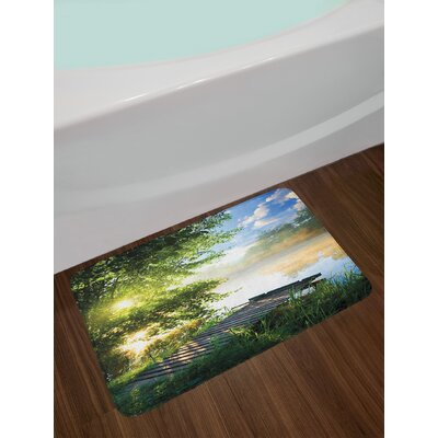 Landscape Fishing Pier by River in the Morning with Clouds and Trees Nature Image Non-Slip Plush Bath Rug
