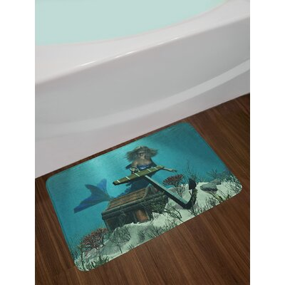 Mermaid in Ocean Sea Discovering Pirate's Treasure Chest Mythical Art Print Non-Slip Plush Bath Rug