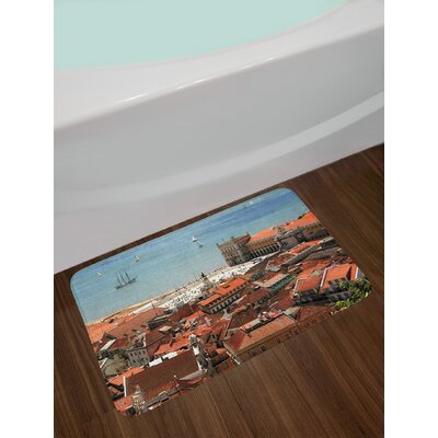 European View of Central Lisbon Portugal with Rooftops and Sea Old Town Nostalgic City Non-Slip Plush Bath Rug