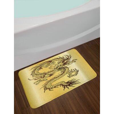 Chinese Snake Dragon Theme Print Eastern Mythology Oriental Abstract Art Non-Slip Plush Bath Rug
