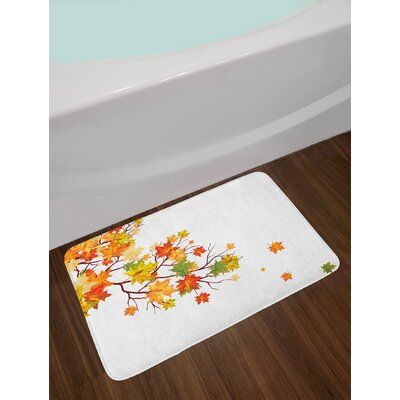 Fall Image with Canadian Maple Leaves Botanical Foliage Nature Warm to Cold Effects Non-Slip Plush Bath Rug