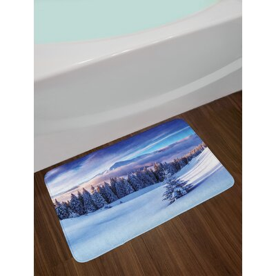 Surreal Winter Scenery with High Mountain Peaks and Snowy Coniferous Pine Trees Non-Slip Plush Bath Rug