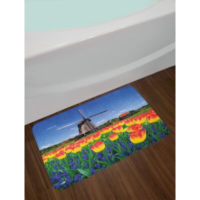 Landscape Tulip Blooms with Dutch Windmill Netherlands Countryside Spring Picture Non-Slip Plush Bath Rug