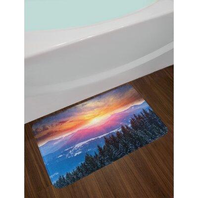 Sunset in Mountains with Hazy Sky with Magical Dawn Horizon Theme Non-Slip Plush Bath Rug