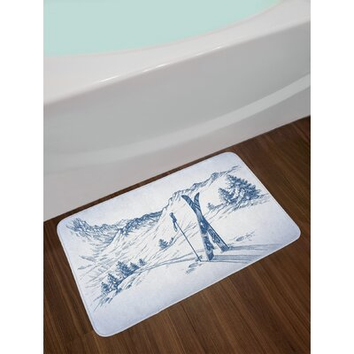Winter Sketchy Graphic of a Downhill with Ski Elements in Snow Relax Calm View Non-Slip Plush Bath Rug