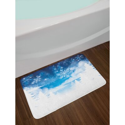 Winter Christmas Trees Setting with Snowflakes and Stars New Year Graphic Image Non-Slip Plush Bath Rug