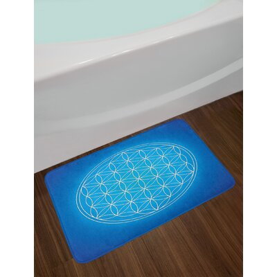 Sacred Geometry Flower of Life Grid Pattern Consisting of Types Overlapping Circles Theme Non-Slip Plush Bath Rug