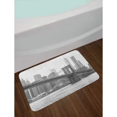 Landscape Photo of Brooklyn Bridge over East River and Tall Buildings Skylines at the Back Non-Slip Plush Bath Rug