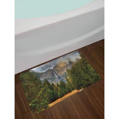 Yosemite Falls Evergreen Forest Fall Season Scenery Yosemite National Park Print Non-Slip Plush Bath Rug