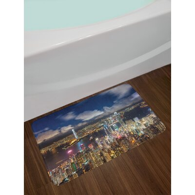 Night View Hong Kong Victoria Harbor Business Financial District Cityscape Print Non-Slip Plush Bath Rug