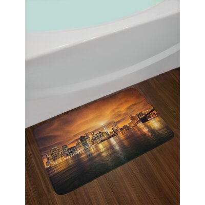 Cityscape Manhattan at Sunset New York from Brooklyn Reflections Seaport Scenery Print Non-Slip Plush Bath Rug