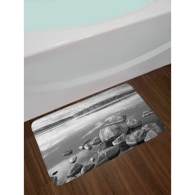 Rocks in Water at Shore of Lake Autumn Isolation Tranquility Environment Non-Slip Plush Bath Rug