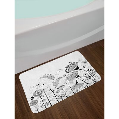 Small Large Blooming Flowers with Butterflies and Bees Creatures Nature Non-Slip Plush Bath Rug