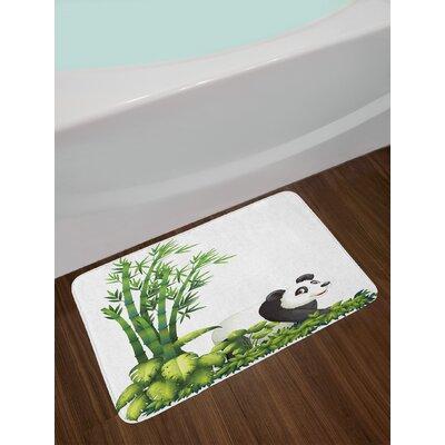 Panda Happy With Tropical Plants Bamboo Trees Endangered Mammals Cartoon Art Non-Slip Plush Bath Rug