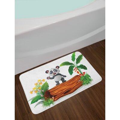Panda Cute Baby Standing on a Tree Trunk Tropical Flowers Big Leaves Colorful Art Non-Slip Plush Bath Rug