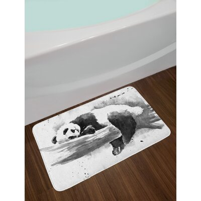 Panda Lying on a Tree Branch Asian Watercolor Painting Artwork Print Non-Slip Plush Bath Rug