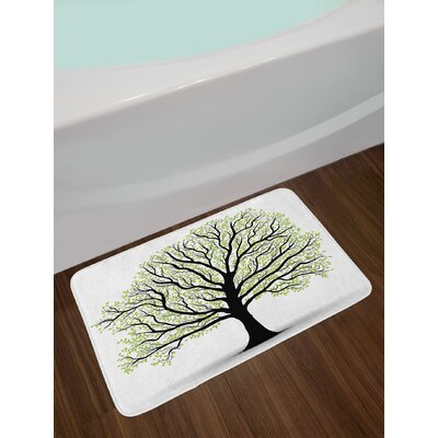 Tree of Life Big Old Lush with Lot of Leaves and Branches Nature Growth Eco Art Non-Slip Plush Bath Rug