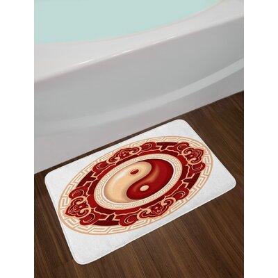 Ying Yang Asian Cultural Symbol Floral Ornamental Patterns Balance Zen Non-Slip Plush Bath Rug