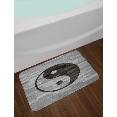 Minimalistic Asian Ying Yang Wooden Floor Effect Non-Slip Plush Bath Rug