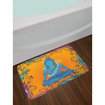 Yoga Ethnic Paisley and Peacock Feather Patterns Asian Figure and Cobra Mandala Non-Slip Plush Bath Rug