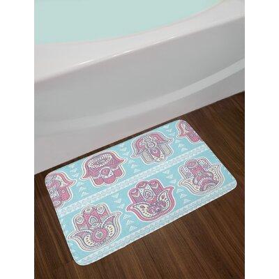 Hamsa Pattern with Open Hands Ornate Asian Mandala Theme Art Print Non-Slip Plush Bath Rug