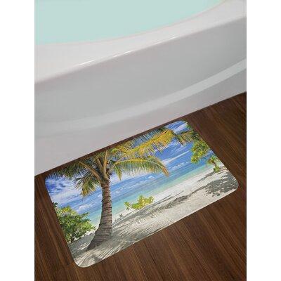 Palm Tree Sandy Beach with Maldives Coastline Peaceful Theme Non-Slip Plush Bath Rug