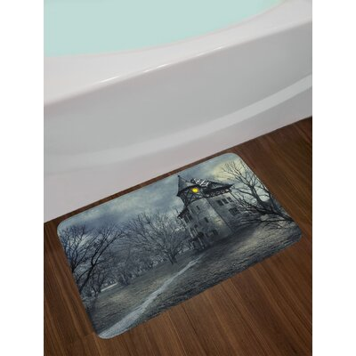 Halloween Design with Gothic Haunted House Dark Sky and Leafless Trees Spooky Theme Non-Slip Plush Bath Rug