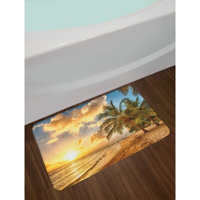 Tropic Sandy Beach with Horizon at the Sunset and Coconut Palm Trees Summer Photo Non-Slip Plush Bath Rug