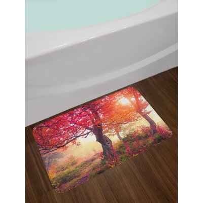 Magical View in the Foggy Forest with Hazy Fairy Sun Beams and Fall Leaves Picture Non-Slip Plush Bath Rug